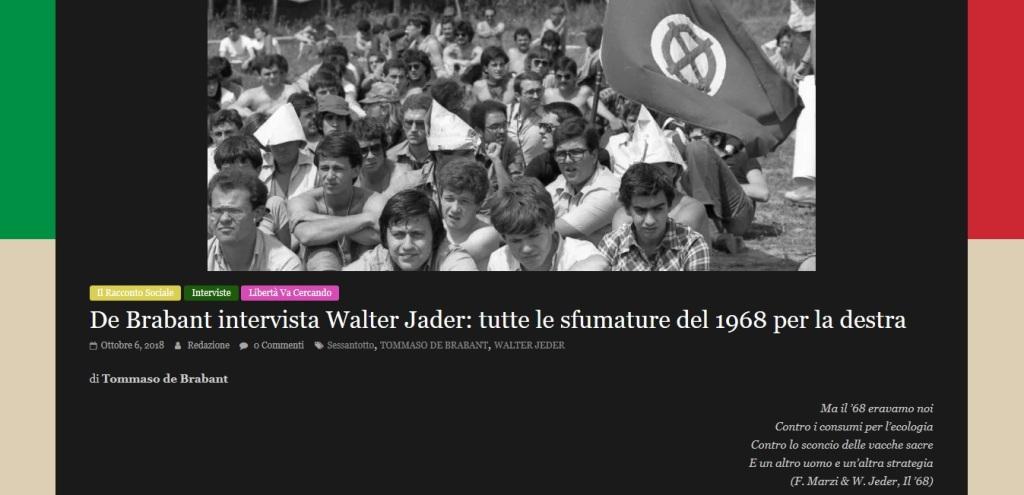 per Giovani a Destra: intervista a Walter Jeder